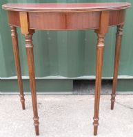 Small Mahogany Bow Front Red Leather Top Console Table